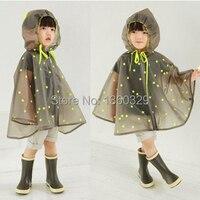 New Korean Style Burberry Kids Raincoat Yellow Dots Poncho Women Boys Rainwear Children Rain Kids Cloak