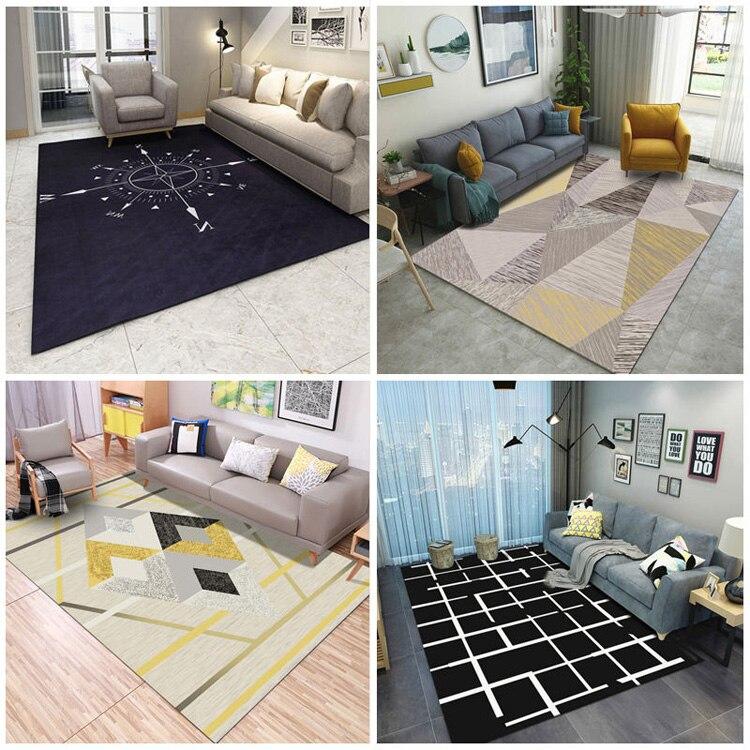 Nordique INS style tapis moderne salon tapis chambre table basse noir et blanc tapis personnalité géométrique tapis de sol CL328
