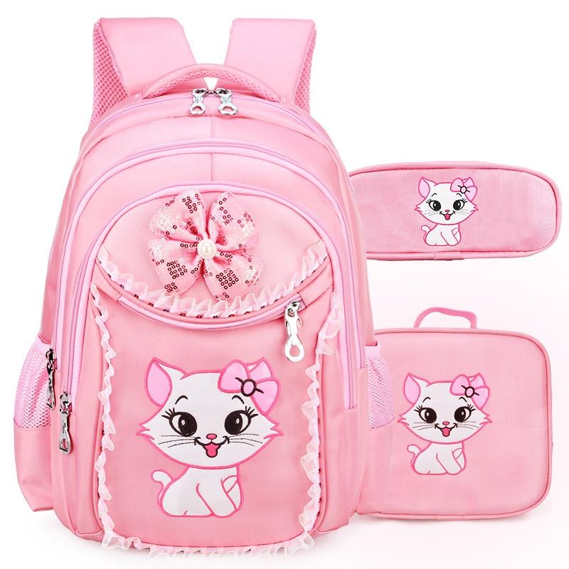 Portfolio School Bags For Girls Sweet Cute Cartoon Princess Cat Children Backpack Kids Lace Bookbag Primary School Backpack Kids