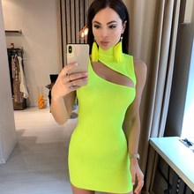 Sleeveless Skinny Mock Neck Summer Dress Women Sexy Hollow Out Short Mini  Club Knitted Dresses