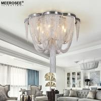 Modern Aluminum Chian Chandelier Light Fixture Tessal Post Hanging Drop Lustre Lamp for Living room Dining room Hotel Restaurant