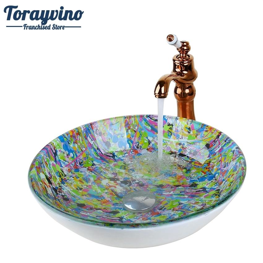 Torayvino Round Glass Washroom Basin Vessel Vanity Sink Bathroom Basin Washbasin Ross Golden Brass mixer Faucet Set w/ Drain
