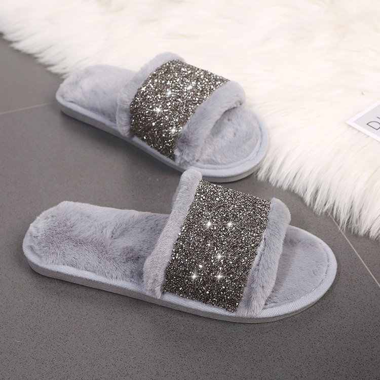 shiny glitter decoration fur slippers