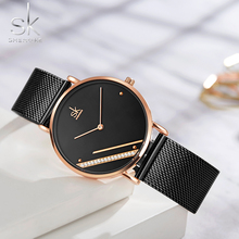 цена Unique Women Watches Simple Minimalism Fashion Rose Gold Casual Ladies Watch Waterproof Rhinestone Stylish Gift Clock онлайн в 2017 году
