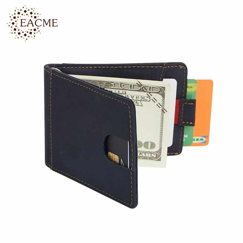 Genuine Leather RFID Money Clip Men Credit Card Pack Cash Clips Clamp for Money  Skin Wallet Card Clips Anti Magnet Wholesale
