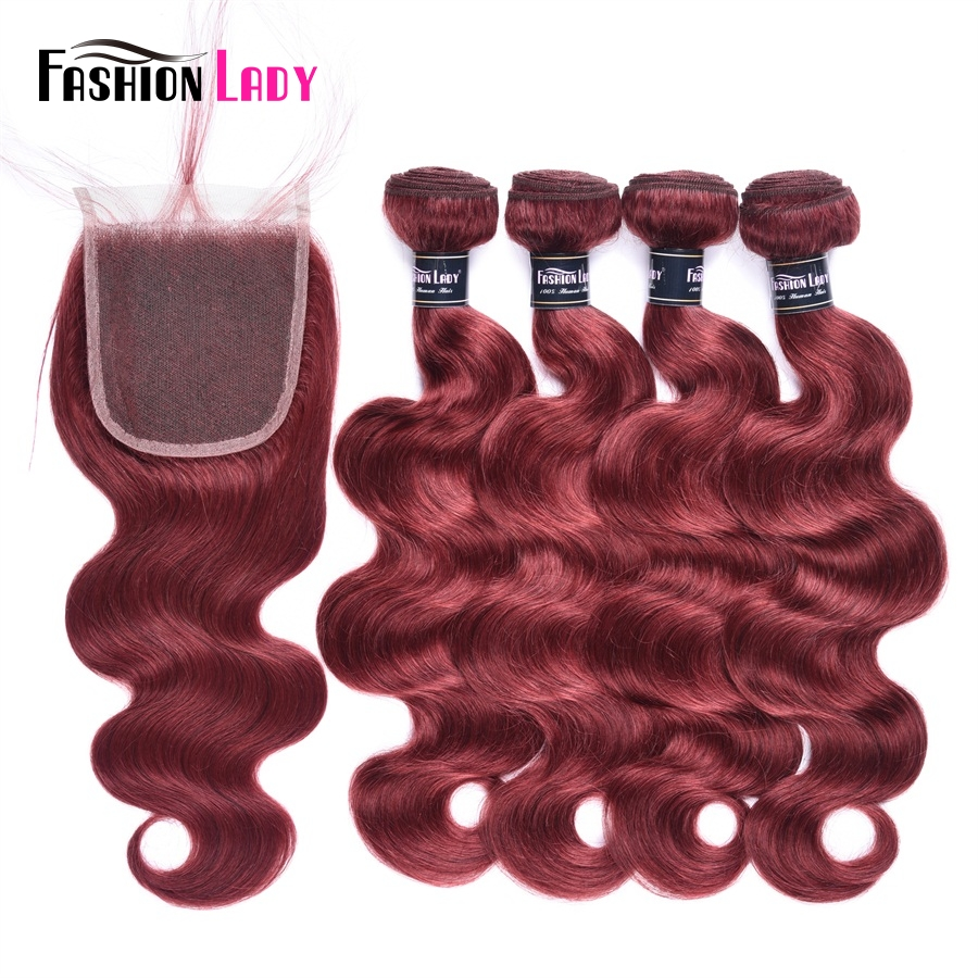 Fashion Lady Pre-Colored Peruvian Hair 4 Bundles Body Wave Hair Bundles #33 Red Hair Extensions With Lace Closure Non-Remy