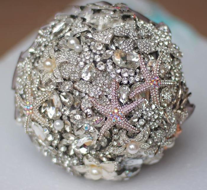 Luxurious Wedding Bouquet Marine Theme Jewelry Starfish Crystal Rhinestones Bride Bouquet  Brooch Bouquet Brooch Accessories