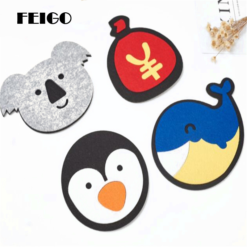 FEIGO 1Pcs Dining Table Coaster Whale/Purse/Koala/Penguin Felt Non-slip Absorbent Insulation Bowl Pad Supplies Kitchen Mats F663