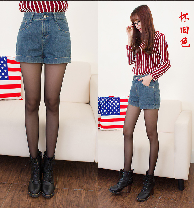 A51 Casual Loose   Short   Sexy Hot   Shorts   Women's Turn-up Straight Denim   Shorts   Plus Size High Waist   Shorts