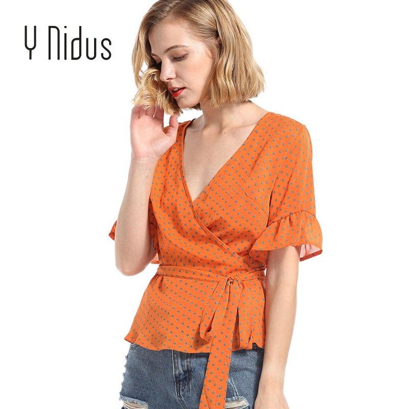 Y Nidus Womens Shirts Summer Chiffon Blouses 2018 Polka Dot Flare Short Sleeve Tunic Shirt Blouse Tops blusas feminina