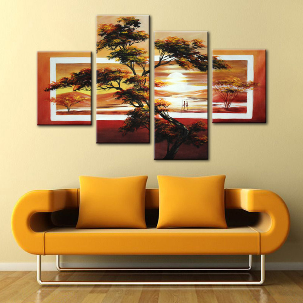African Landscape Sunset Scenery Oil Painting Modern Large Wall ...