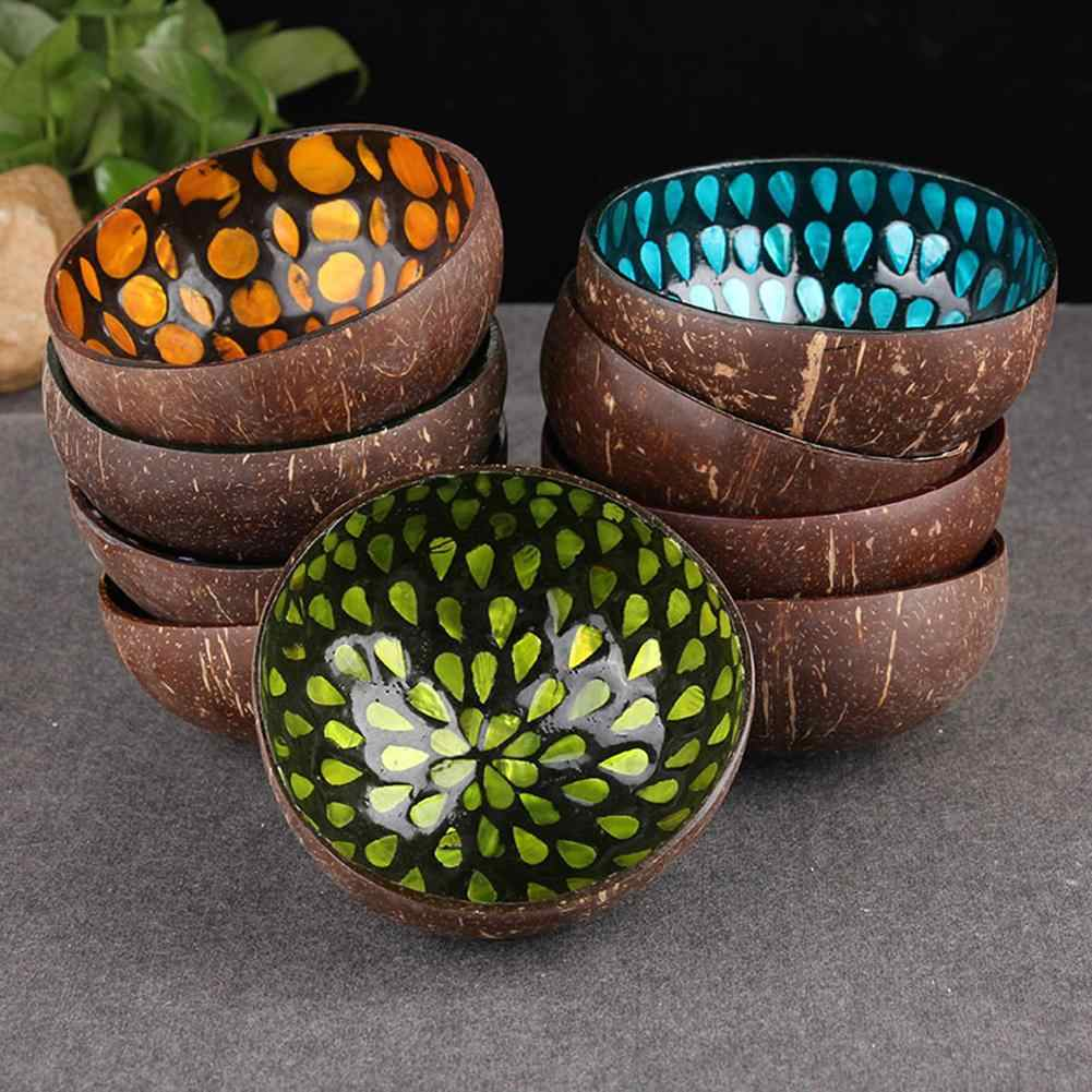 Stylish Natural Coconut Shell Candy Food Container Keys Storage Bowl Home Decor
