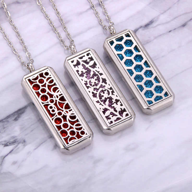 Square Stainless Steel Magnetic Aromatherapy Diffuser Necklace Jewelry Perfume Locket Pendant Essential Oil Locket Necklace