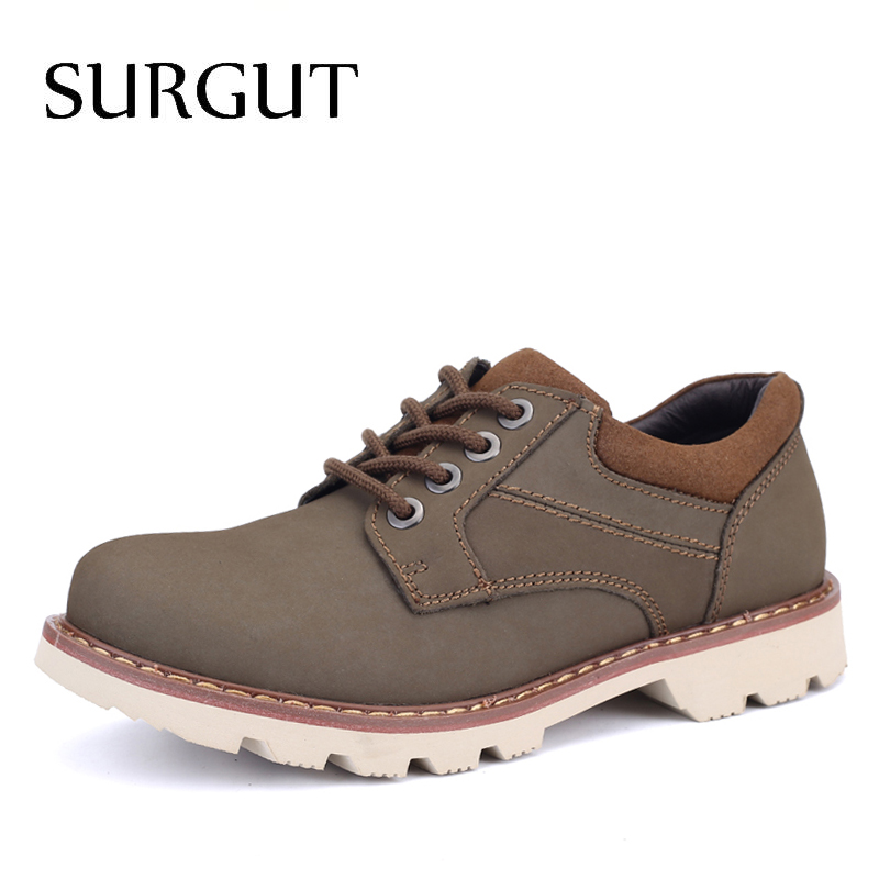 SURGUT Brand Handmade Shoes Men Full Grain Leather Men Super Cool Shoes High Quality Autumn Footwear Casual Men Working Shoes branded men s penny loafes casual men s full grain leather emboss crocodile boat shoes slip on breathable moccasin driving shoes