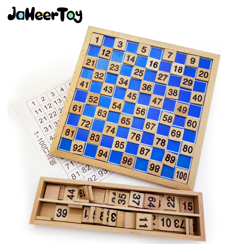 JaheerToy  Montessori Educational Toy 1-100 Digital Math Wooden Toys For Children Math Early Mathematics Learning Wood