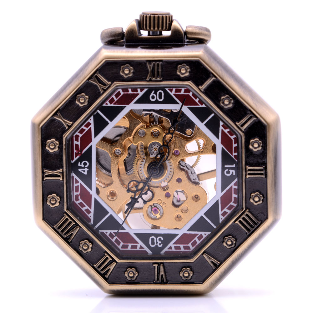 Transparent Case Octagon Dial Mens Hand Wind Mechanical Pocket Watch Womens Skeleton Gears Watch Gift relogio