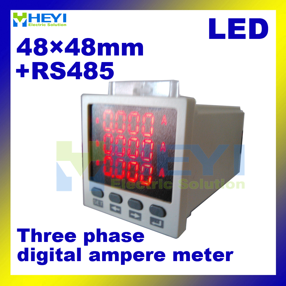 Three phase digital readout meter 48*48mm LED AC current meter with RS485 communication 3 phase electric meter цены
