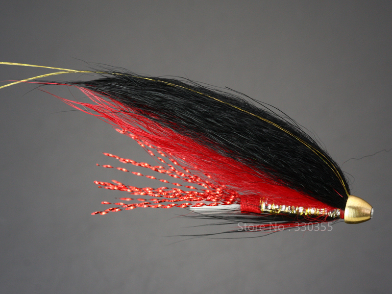 100 Pcs Tube Fly Black/Red Cone Heads Salmon And Sea Trout Fly Fishing Lures Flies