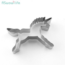 5Pcs Unicorn Stainless Steel Pony Cartoon Cookie Mould DIY Baking Production For Cake Tool
