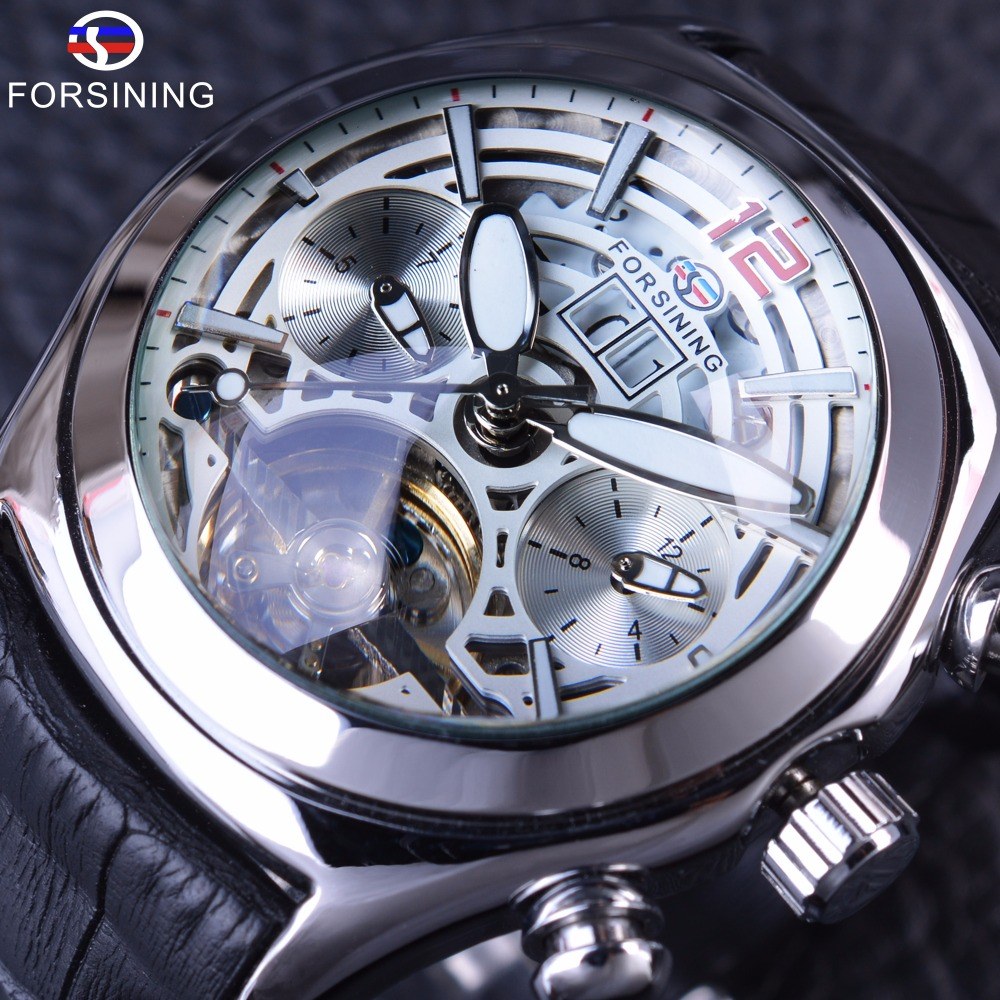 ФОТО Forsining 2017 Calendar Legend Tourbillion Design Genuine Leather Strap Mens Watches Top Brand Luxury Automatic Skeleton Clock
