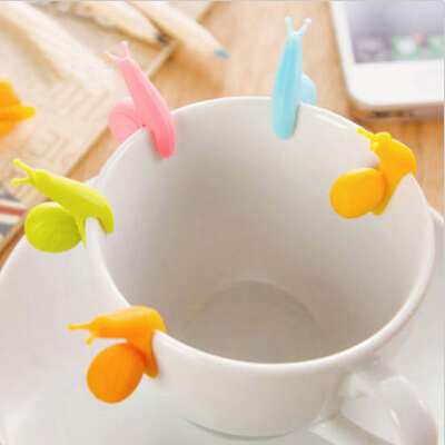 5 PCS Cute Snail Shape Silicone Tea Bag Holder Cup Mug Candy Colors Gift Set GOOD Random Color