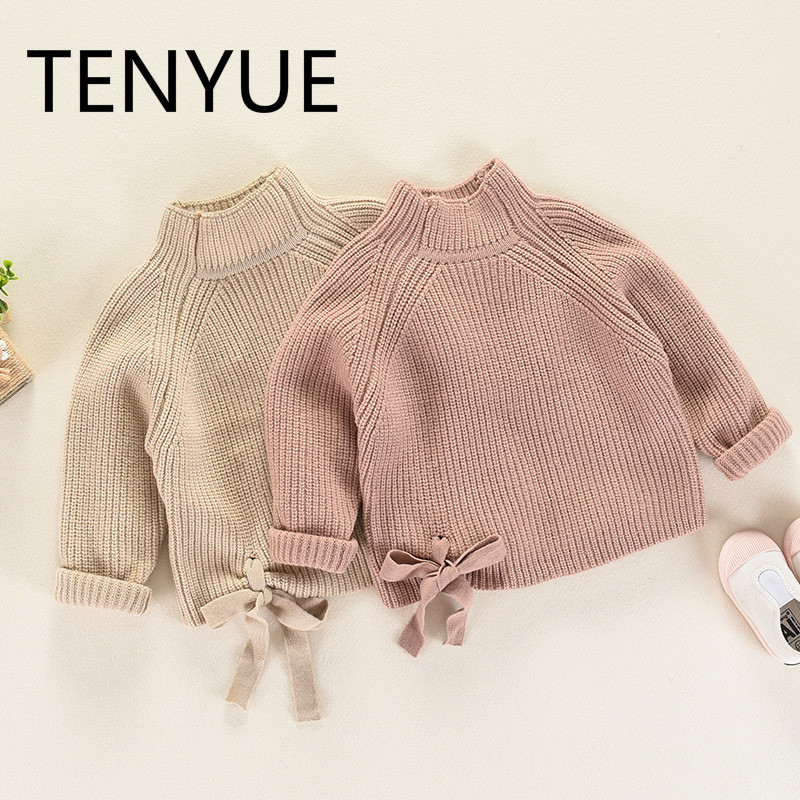 TENYUE, Girls' Sweaters Autumn & Winter, Children's Wear, Children's Sweaters, Sweaters, Semi High Necked Sweaters and Sweaters pink solid color off shoulder crop bodycon sweaters vests