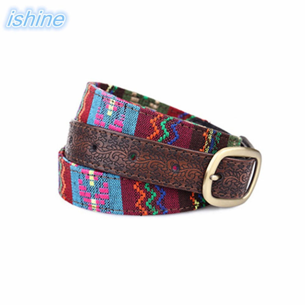 2018 New Designer Fashion Ethnic Style Vintage Embroidery Embossed Decorative Women   Belt   For Jeans 103cm