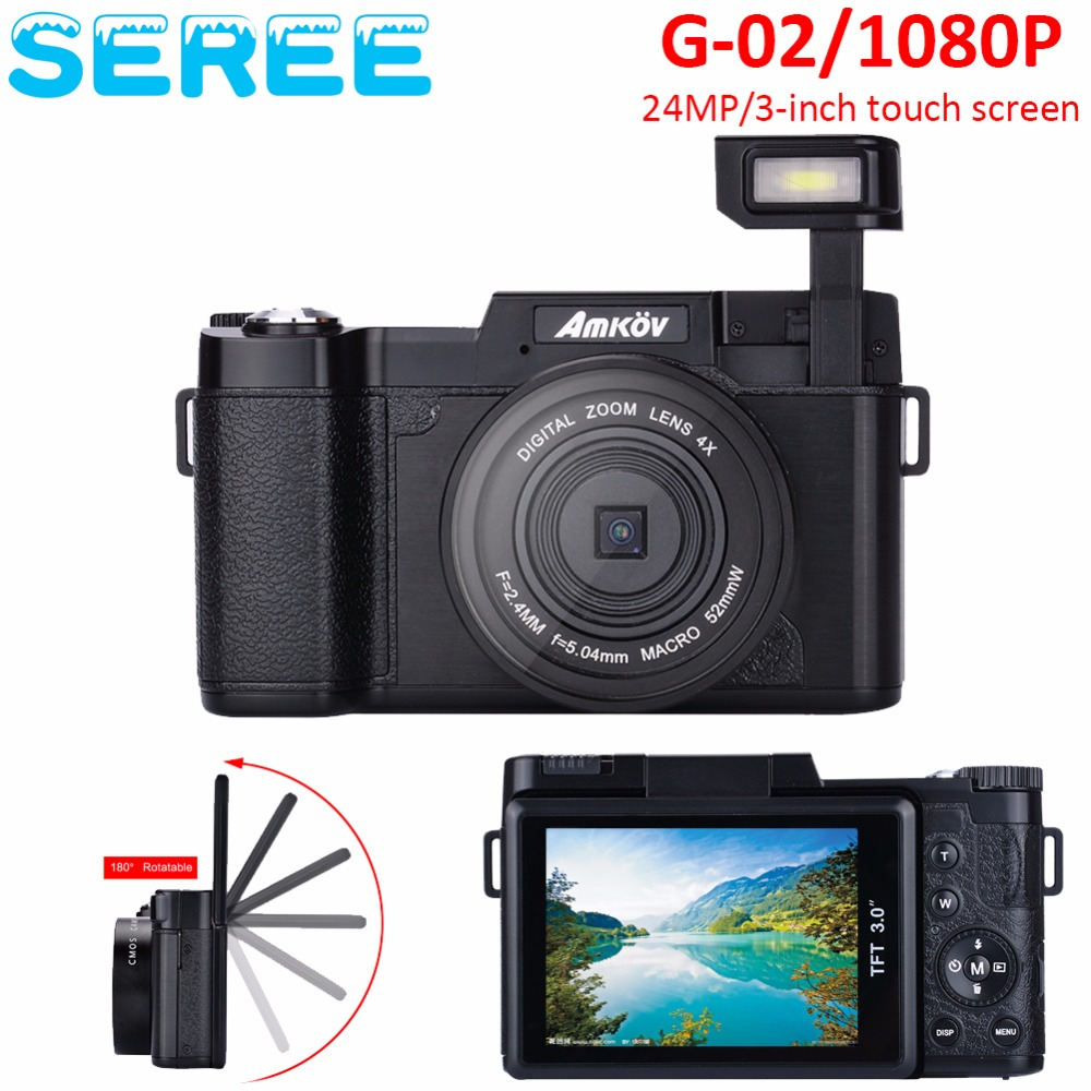 Seree 24MP HD Half-DSLR Professional Digital Cameras with 4x Telephoto Wide Angle Lens Cameras Macro HD Cameras Free shipping