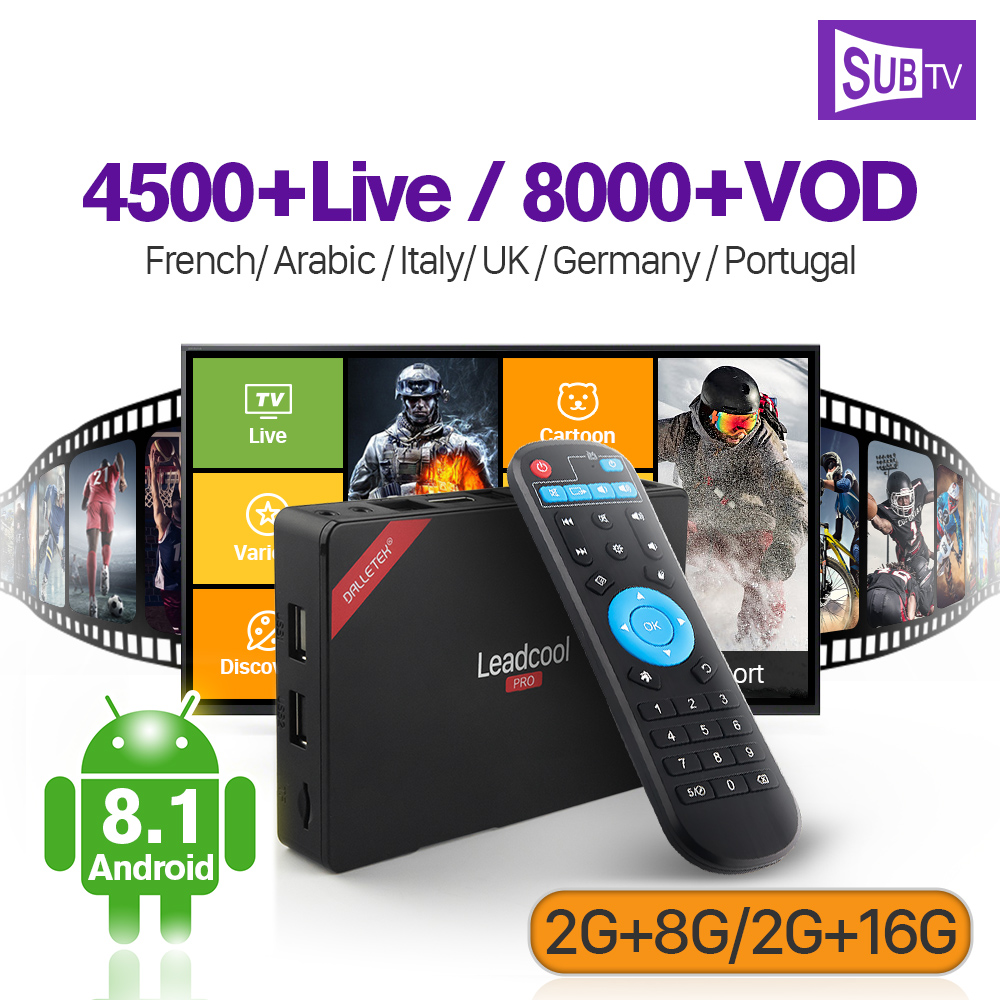 Leadcool Pro Android 8.1 IPTV Box 2G 8G/2G 16G RK3229 with SUBTV IPTV Subscription 1 Year IPTV France Arabic Beglium Canada a95x pro voice control with 1 year italy iptv box 2g 16g italy iptv epg 4000 live vod configured europe albania ex yu xxx