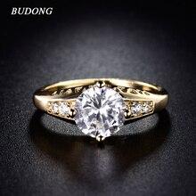 e9caaf57e53b BUDONG Infinity anillos de cristal para mujeres plata oro Color Anillo  blanco cristal claro cúbico Zirconia joyería de boda XUR1.