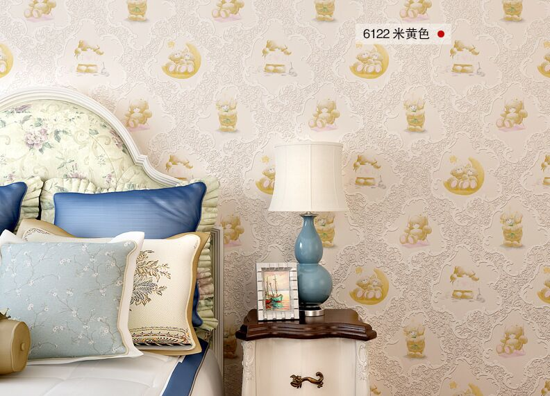 Cartoon bear children Wall Paper Roll pink Non Woven Wallpaper children's beroom Wallpaper for Walls Papel Pintado Vintag non woven bubble butterfly wallpaper design modern pastoral flock 3d circle wall paper for living room background walls 10m roll