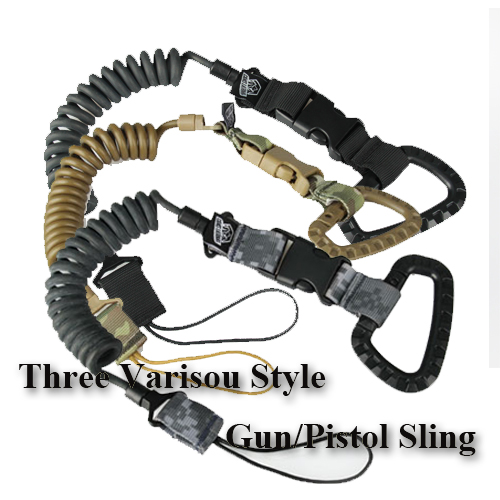 Three Color Tactical Airsoft Gun Pistol Spring Sling Strap Bungee Rifle Sling Сыртқы аң аулау үшін HS13-0045