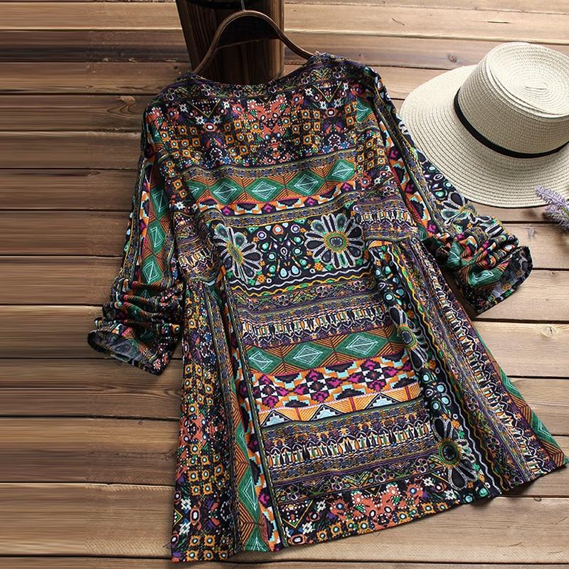ZANZEA Fashion 2018 Women Blouse Autumn Round Neck Long Sleeve Shirt Loose Casual Vintage Print Blusas Femininas Plus Size Tops 1
