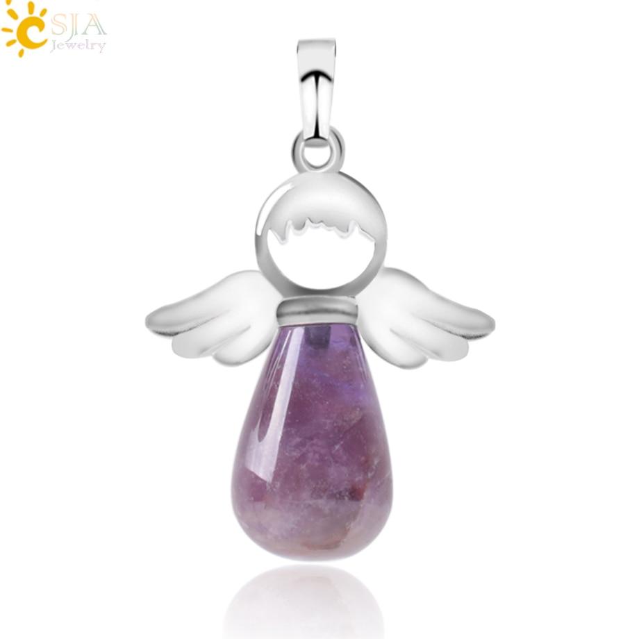 CSJA, натуральные камни, ангелы, крылья, подвеска для ожерелья, розовый кварц, Ониксовые подвески, серебряный цвет, капля воды, Женские Ювелирные изделия, подарок E949 - Окраска металла: Amethyst