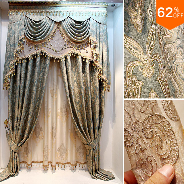 Luxury curtains the blind Vivian quality jacquard Room curtain dodechedron luxury finished product the curtain customize Blinds
