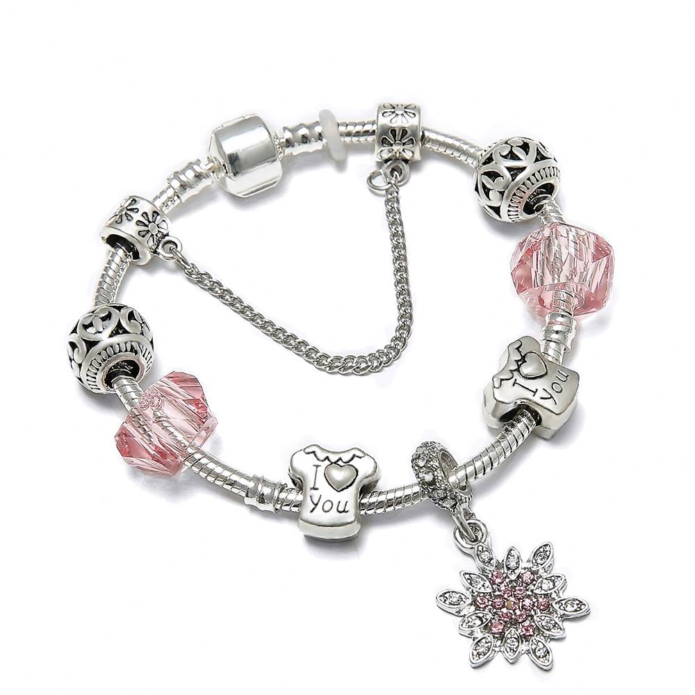 SPINNER Christmas Love DIY Charm Bracelet Small Fresh Romantic Couple Pandora Bracelet for Women Jewelry Christmas Gift