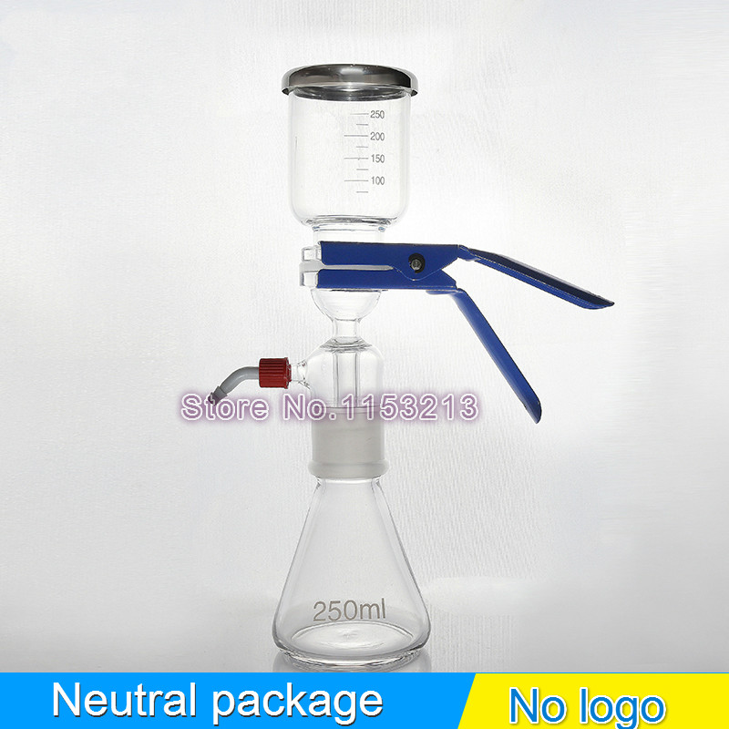 250ml Solution filter bottle Vacuum filtration device Sand core Solvent suction filter unite with filter cup & receive bottle