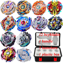 New Beyblade Set 12pcs Gyro 3pcs Launcher With Handle Plastic Box Spinning Top Metal Funsion 4D