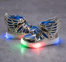 Размер 21-30 мальчики обувь модные дети кроссовки световой светящиеся кроссовки с мигалками малышей девушки крылья обувь