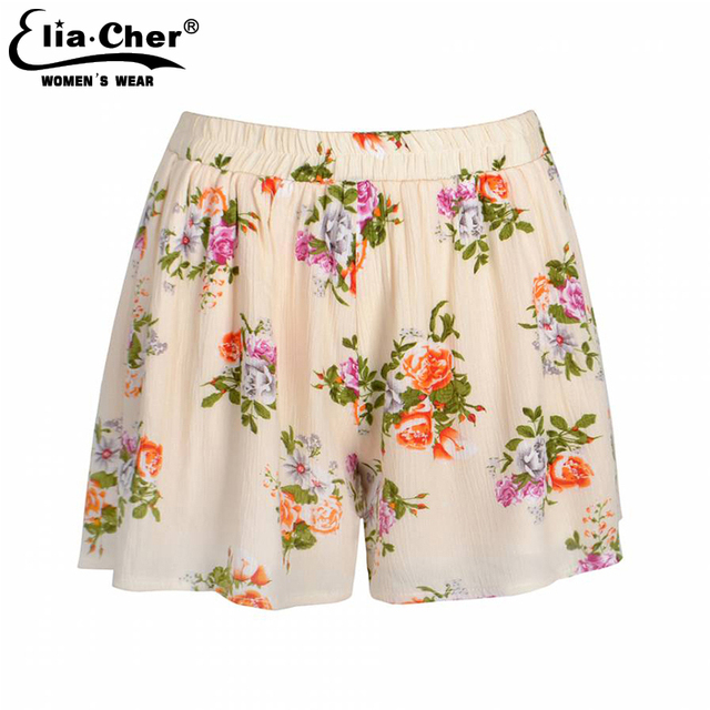 Shorts Women 2017 Eliacher Brand Chic Chiffon Women Shorts Flower Pattern High Waist Summer Girl Cotton Shorts