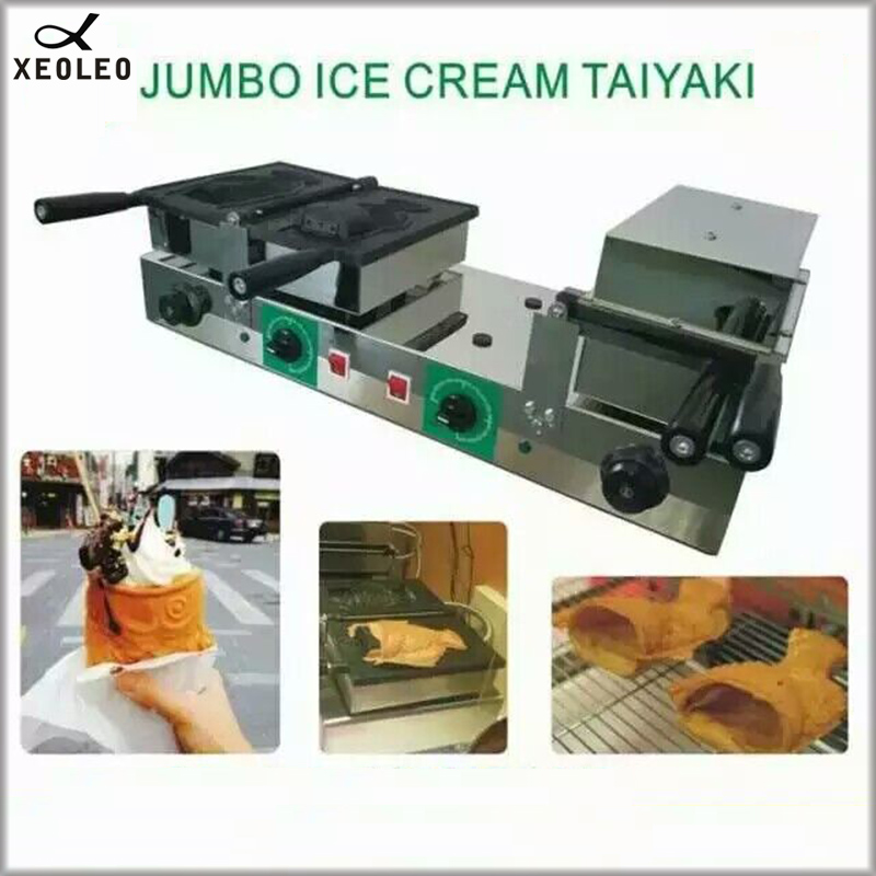 XEOLEO Double Heads Ice Cream Taiyaki maker 2000W+2000W Electric Taiyaki machine Non-stick Taiyaki fish Cone maker Waffle maker taiyaki maker with ice cream filling taiyaki machine for sale ice cream filling to fish shaped cake fish cake maker