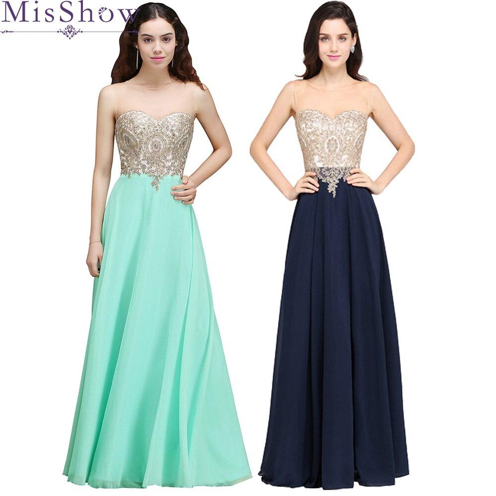 Robe de soirée femmes élégant vert menthe appliques robes de soirée longue ligne a mousseline de soie bleu marine formelle robes de soirée 2019