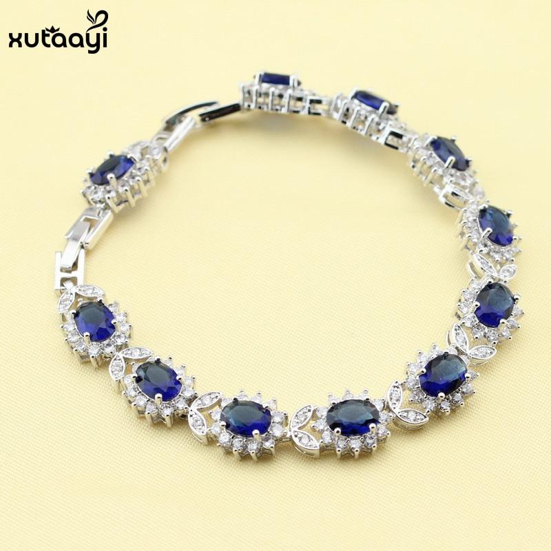 XUTAAYI Mavi Cubic Zirconia AAA Keyfiyyətli 925 Gümüş zərgərlik - Moda zərgərlik - Fotoqrafiya 6