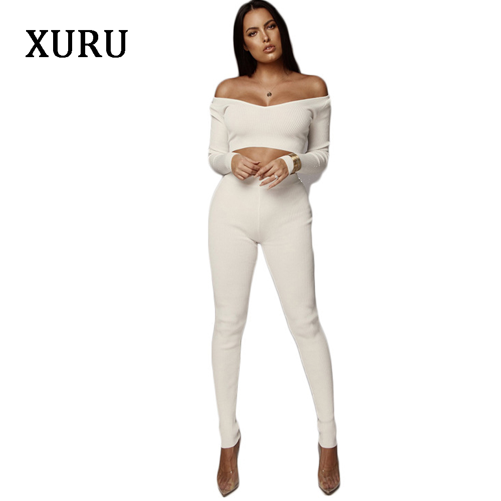 XURU Women 39 s 2 piece set sexy fashion high elastic jumpsuit female long sleeve sexy club clothing jumpsuit white black army in Jumpsuits from Women 39 s Clothing