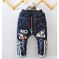 2017/otoño/invierno nueva ropa del muchacho 1-4 años de edad jeans jeans de moda de dibujos animados de dibujos animados muchacho de la manera/de la cachemira/engrosamiento