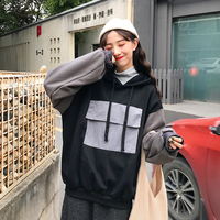 Spring Color Matching Hooded Sweatshirt Women Plus Size Bat Sleeve Loose and Thin Sudadera Mujer Korean Style Clothes TQ4875W