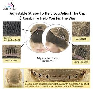 Image 3 - Sunnymay 13x4 Ombre Lace Front perruque de cheveux humains avec des cheveux de bébé personnalisé 27/613 Remy perruque droite 130% pré arraché avant de lacet perruques