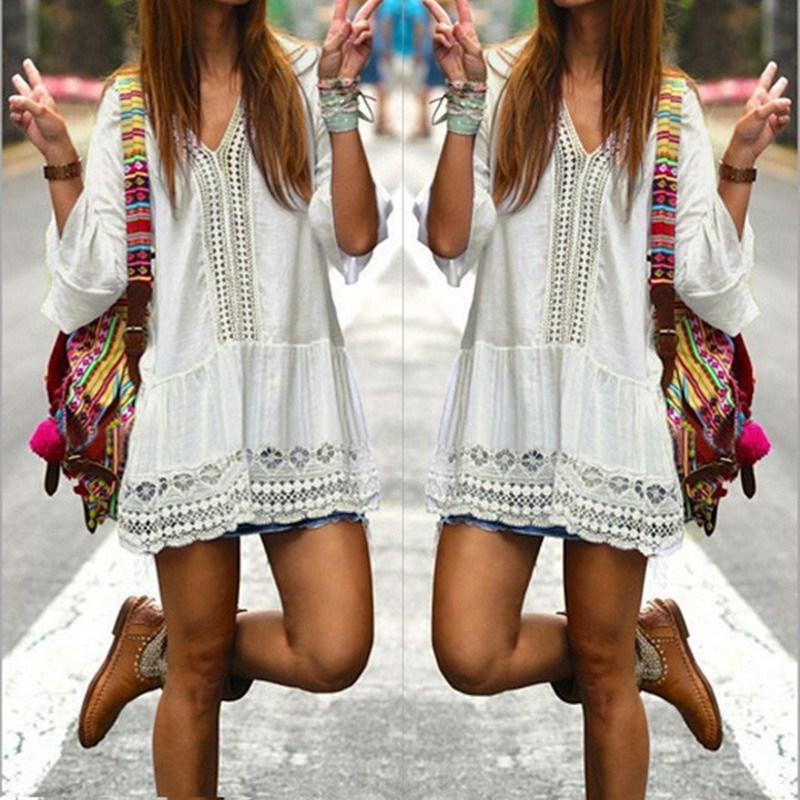 Mujeres Boho verano vestido 2018 Sexy v-cuello profundo campana manga Hollow Lace Crochet Casual Mini Vestidos damas Vestidos