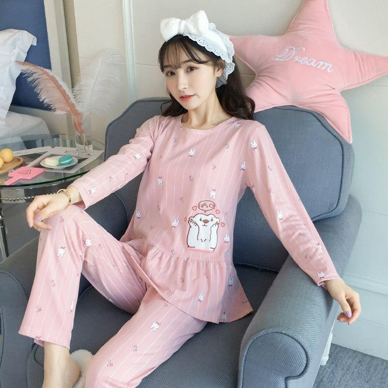 100% Cotton   Pajama     Sets   for Women Spring Autumn Long Sleeve Ruffles Pyjama 90s Girl Cute Cartoon Sleepwear Homewear Pijama Mujer