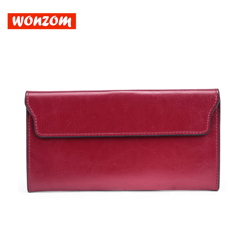 цена на WONZOM 2018 Fashion Genuine Leather Women Long Wallet Vintage Lady Solid Cowhide Clutch Wallet Quality 8 Candy Colors Red Black
